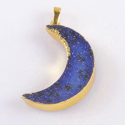 Crescent Moon Blue Agate Druzy Geode Pendant Bead Gold Plated T037293
