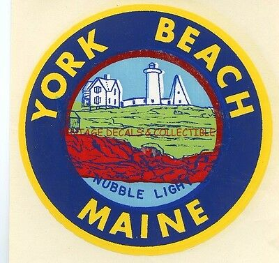 Vintage York Beach Maine Nubble Light Lighthouse Souvenir Rare Enco Travel Decal