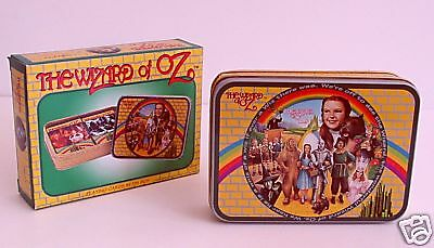 WIZARD of Oz PLAYING CARDS 2 Decks in OZ Decorated TIN BOX Yellow Brick Rd NOS