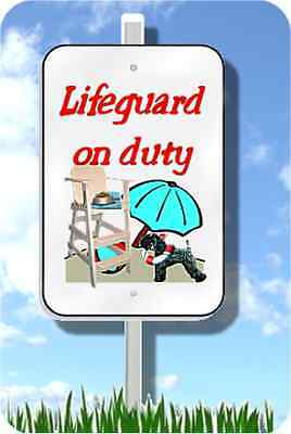 "Kerry Blue Terrier lifeguard on duty sign novelty 8""x12"" metal pool yard dog"