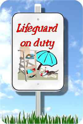 "Dandie Dinmont Terrier lifeguard on duty sign 8""x12"" pool yard dog"