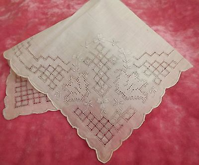 ANTIQUE VINTAGE Madeira Appenzell Needle Lace HANDKERCHIEF Hand made