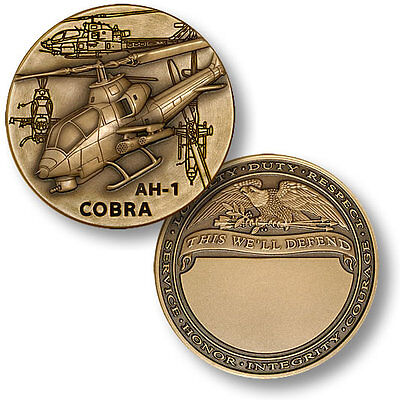 AH-1 Cobra attack helicopter coin antique Bronze challenge Medallion US military