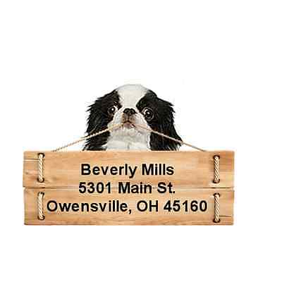 Japanese Chin return address labels die cut to shape of dog and sign