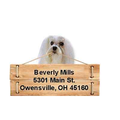 Maltese return address labels die cut to shape of dog and sign