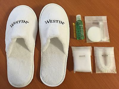 ^Westin 5pc PAMPER SET Slippers Vanity Kit Shower Cap LUXURY
