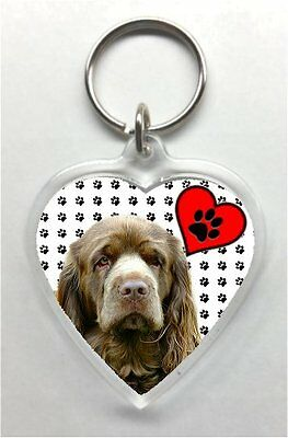 Sussex Spaniel Heart Shaped acrylic Key Ring/chain