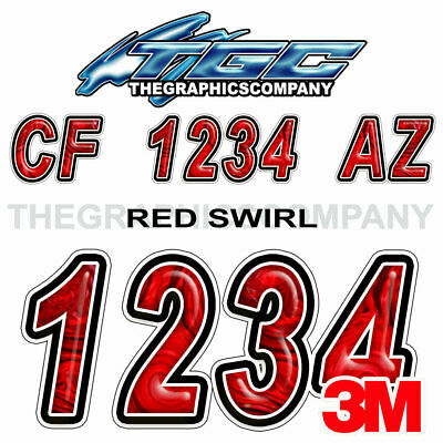 Red Swirl Custom Boat Registration Numbers Decals Vinyl Lettering Stickers USCG