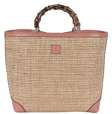 New Gucci Kid's Straw Leather Bamboo Handles Flora Lining SMALL Tote Purse