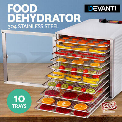 5-Star Chef 10 Trays Food Dehydrators Commercial Fruit Dryer 304 Stainless Steel