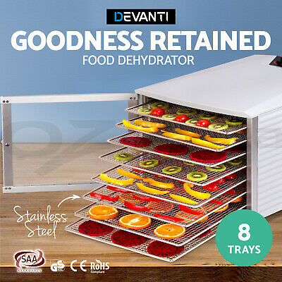 5-Star Chef 8 Trays Food Dehydrator Commercial Fruit Dryer 304 Stainless Steel