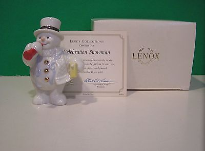 LENOX CELEBRATION JANUARY SNOWMAN sculpture NEW in BOX with COA