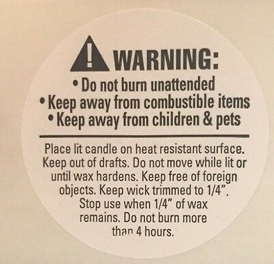 Bag of 100 Count  1.5 Inch Round Candle Warning Labels
