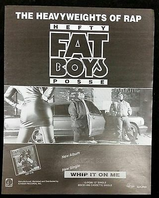 Hefty Fat Boys Posse 1991 Billboard Promo Trade Print Magazine Ad Poster