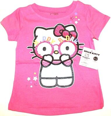 Hello Kitty Little Girls Toddler Happy Birthday T Shirt Carmine Rose 3T New NWT