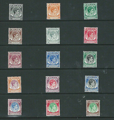 Singapore 1948 Kgvi  Set Of 15 Perf 14 Lmm Sg1/15