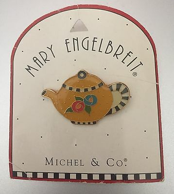 Mary Engelbreit  Michel & Co  Yellow Teapot Pin #8185  Old Stock/New on Card
