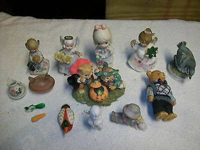 Large Lot Of 14 Collectibles Precious Moments Bears Clown Birds ++++++