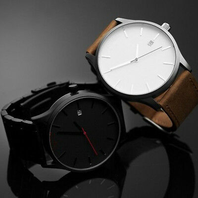 Fashion Men's Analog Sport Wrist Stainless Steel Case Leather Quartz Watch A*
