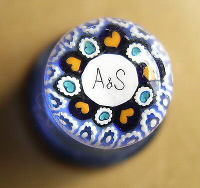Blue Strathearn scottish glass millefiori A&S thimble personalised heart wedding