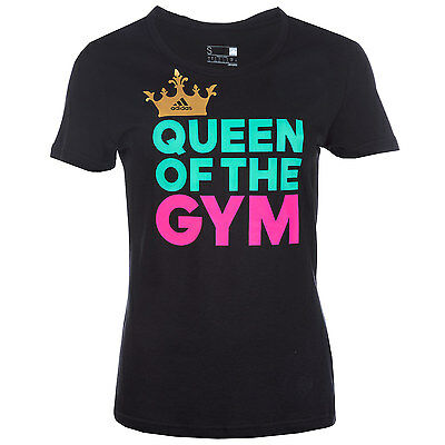 Womens adidas Womens Queen Of Gym T-Shirt in Black - 16-18 From Get The Label