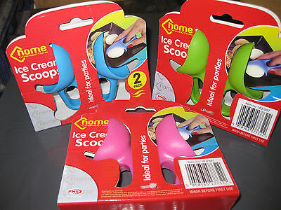 2Pc Ice Cream Scoops Hard Mould Shape Party Various Colours Summer Icecream