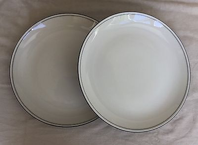 "2 X Denby Black Bistro Large 10.75"" Dinner Plates Very Good Condition"