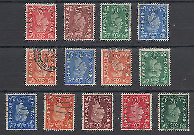 STB Used Set of 13 KGVI Inverted Watermark Definitives; see both scans