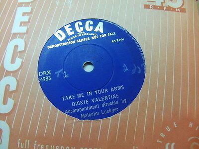 """Dickie Valentine – Take Me In Your Arms 1958 1-side Demo 7"""" Decca F 11066"""