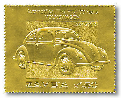 VW Käfer, Briefmarke in 22 Karat Gold, postfrisch, Sambia    903269