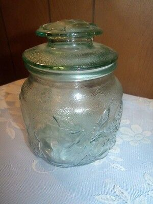 Vintage Green Tinted Cut Glass Cookie Jar Canister Embossed Fruit Design