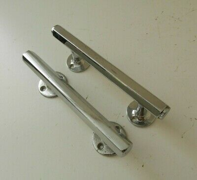 Pair Vintage Authentic 1950's Solid Polished Metal Hexagonal Door Pull Handle