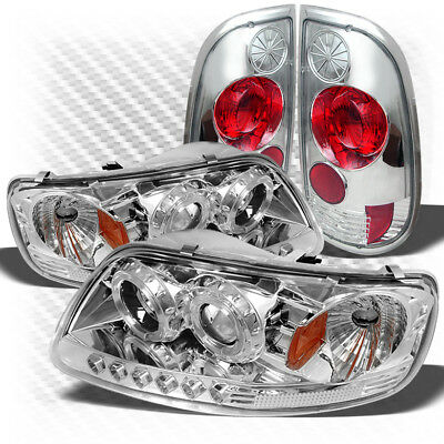 Altezza Style Tail Lights For 97-03 F150 1pc Halo Projector Headlights w//LED