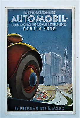 Exceptional 1938 Art Deco Poster-style International AUTOMOBIL Berlin Postcard