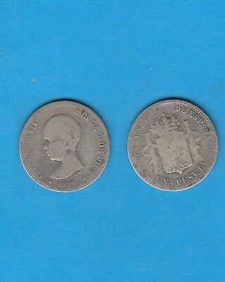 Espagne Spain  ALFONSO XIII  1 Peseta  argent 1891  P.G.M  Silver coin
