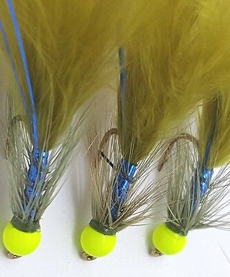 6 Hot Head Chart Blue Flash Damsel's,Fly Fishing Trout Lures,Trout Buzzers.