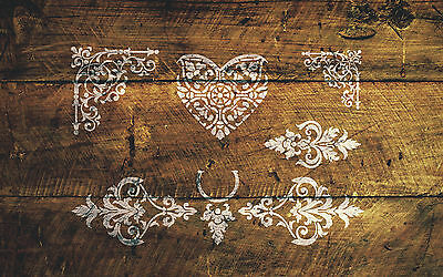 Corners and Keyholes Stencil Shabby Chic French Wall Furniture Vintage Mylar A3
