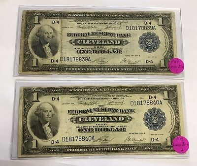 2 Consecutive 1918 $1 Federal Reserve Note CLEVELAND OHIO Green Eagle FR 720