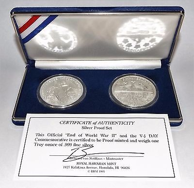 Royal Hawaiian Mint 1995 WWII Commem. Proof Set 2 Troy Oz 999 Fine Silver Rnds