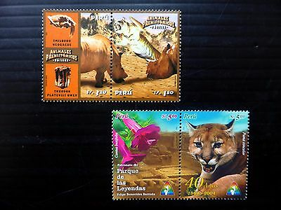 PERU 2004 Animals in Se-tenant Pairs SG2284a & 2294a U/M NB1022