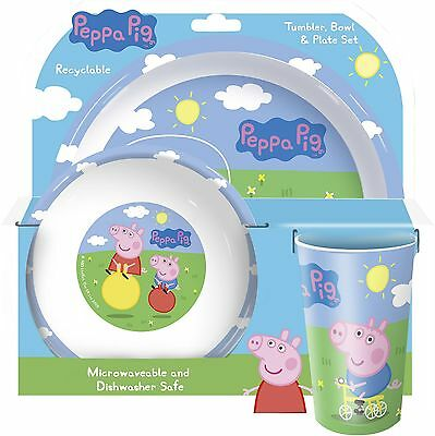 NEW Peppa Pig & George 3 Piece Dinner Set Plate Bowl & Tumbler