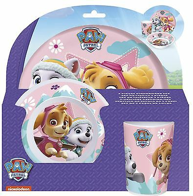 Paw Patrol Girl Childrens 3 Piece Tumbler Bowl and Plate Set