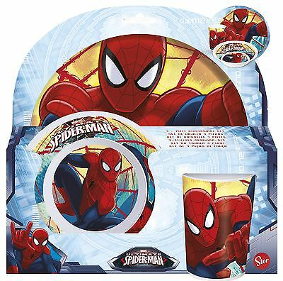 Marvel Ultimate Spiderman Childrens 3 Piece Tumbler Bowl and Plate Set