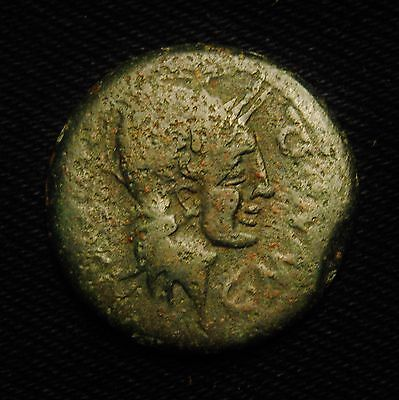 Spain AE As Valentia - Helmeted Bust of Roma C LVCIEN & C MVNI Q (magistrates)