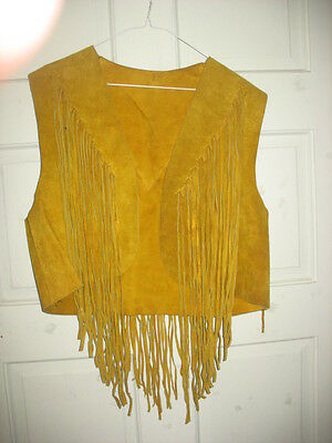 Used Women's  Leather Vintage Fringe Vest {1970's}