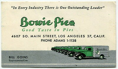 "Old Business Card: ""Bowie Pies - Good Taste in Pies"" - Illustrated Trucks [L.A.]"