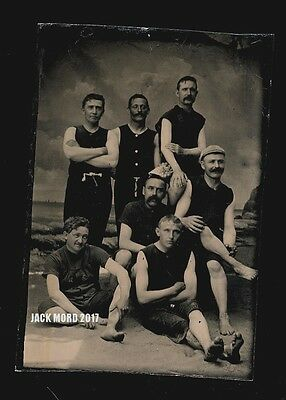 Antique Victorian Swimsuit Group Of Handsome Men On Beach Old Tintype Photo