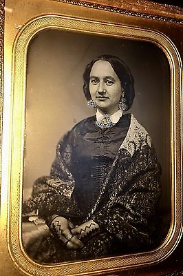 """Large 6"""" 1850s Daguerreotype Photo Pretty Woman in Shawl"""