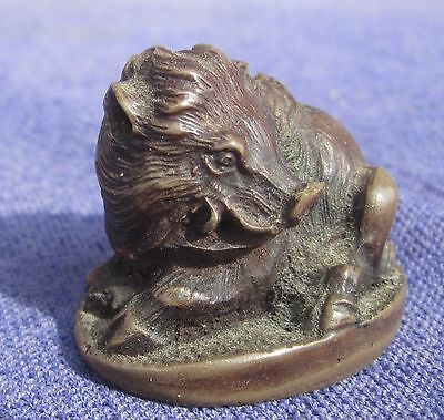 Antique Bronze NETSUKE of a Boar, Signed Meiji Period