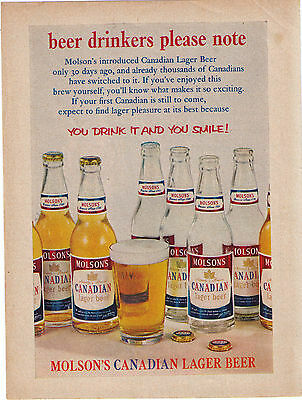 1959  Molson Canadian Lager You Drink It & You Smile Vintage Print Advertisement